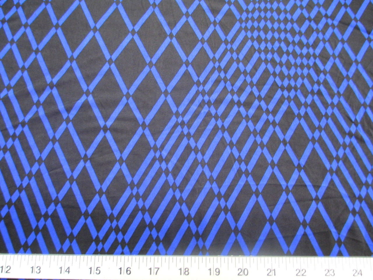 Discount Fabric Printed Lycra Spandex Stretch Royal Blue Geometric Diamonds B300