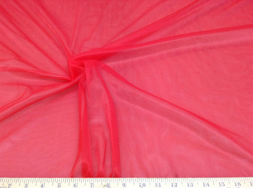 Discount Fabric 108 inch Red PowerNet Mesh Spandex sheer PO303