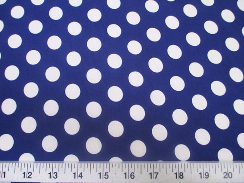 Discount Fabric Printed Lycra Spandex Stretch Blue with White Polka Dots H302
