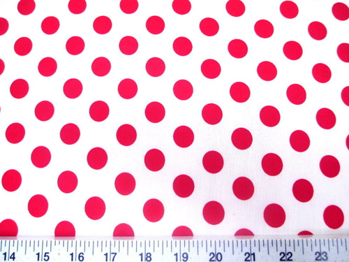 Discount Fabric Printed Lycra Spandex Stretch White with Red Polka Dots H301