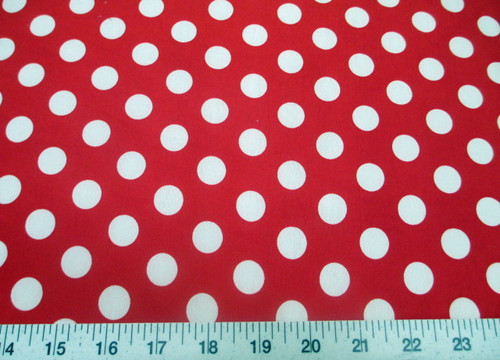 Discount Fabric Printed Lycra Spandex Stretch Red with White Polka Dots H202