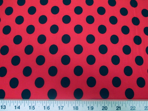 Discount Fabric Printed Lycra Spandex Stretch Red with Black Polka Dots G20
