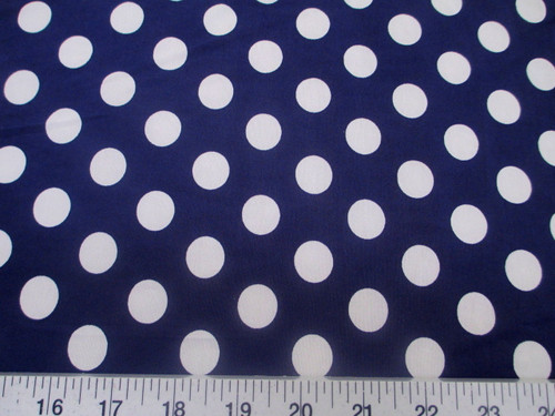 Discount Fabric Printed Lycra Spandex Stretch Navy with White Polka Dots G201