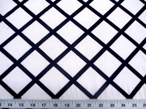 Discount Fabric Printed Lycra Spandex Stretch White Diamond Black Lattice C402