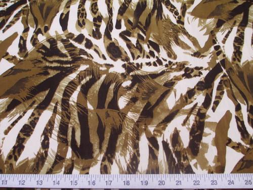 Discount Fabric Printed Lycra Spandex Stretch Big Cat Stripe Olive Brown E201