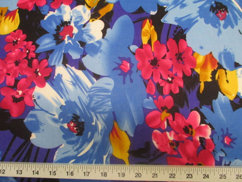 Discount Fabric Printed Lycra Spandex Stretch Bold Floral Royal Blue Black B302