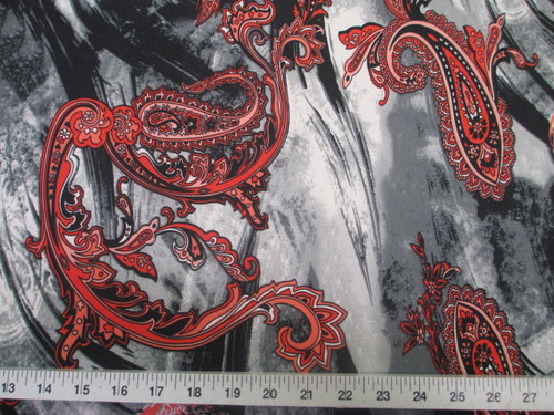 Discount Fabric Printed Lycra Spandex Stretch Red Paisly on Storm Cloud A402