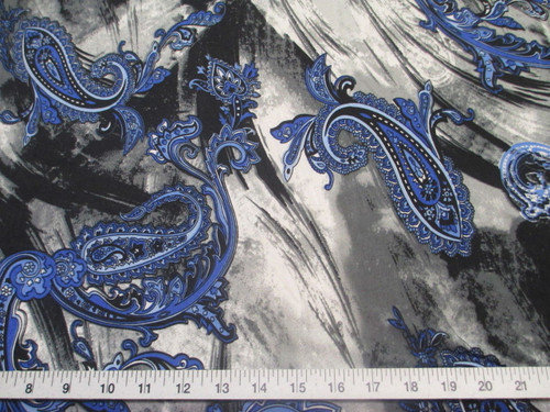 Discount Fabric Printed Lycra Spandex Stretch Blue Paisly Storm Clouds A400