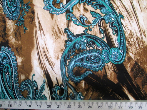 Discount Fabric Printed Lycra Spandex Stretch Turquoise Paisly Storm Clouds A401