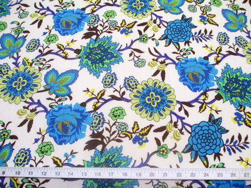 Discount Fabric Printed Lycra Spandex Stretch Turquoise Blue White Floral F301
