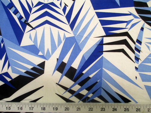 Discount Fabric Printed Lycra Spandex Stretch Blue Black Bamboo Leaves A301