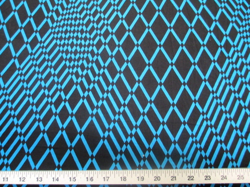 Discount Fabric Printed Lycra Spandex Stretch Turquoise Geometric Diamonds B200