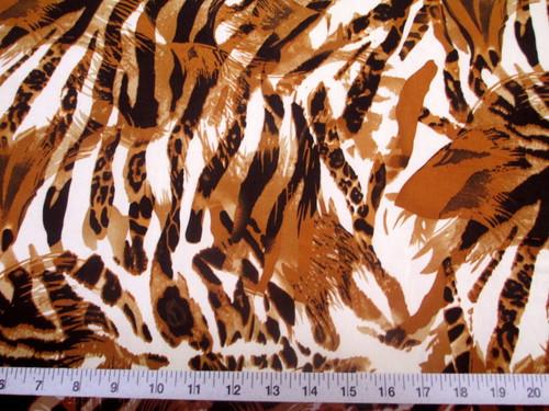 Discount Fabric Printed Lycra Spandex Stretch Big Cat Stripe Burnt Orange E301