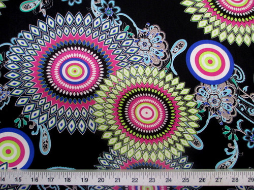 Discount Fabric Printed Spandex Stretch Sunflower Lime Pink and Blue D402