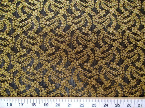 Discount Fabric Stretch Lace Black Metallic Gold Floral LC100