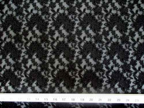 Discount Fabric Stretch Lace Heavily Embroidered Elegant Black Floral LC102