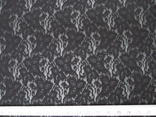 Discount Fabric Stretch Mesh Lace Black Floral LC802