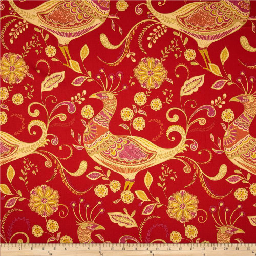 Discount Fabric Richloom Upholstery Drapery Sateen Fantasy Indiar Peacocks MM21