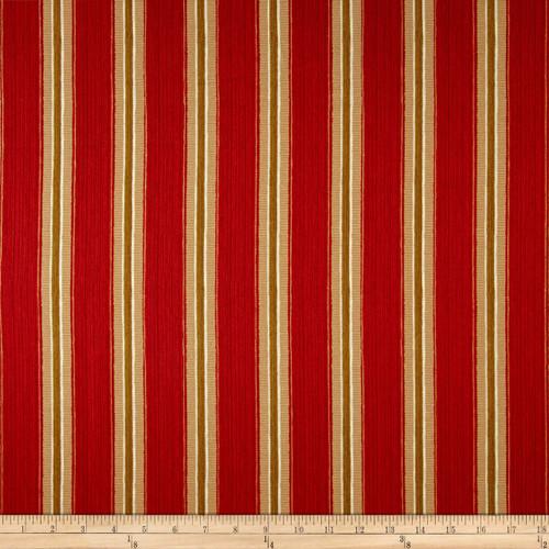 Discount Fabric Richloom Upholstery Drapery Sateen Slim Indiar Red Stripe OO22