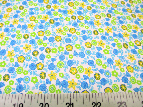 Discount Fabric Quilting Cotton Blue, Yellow and Green Floral J405