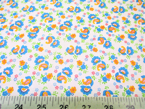 Discount Fabric Cotton Apparel Blue, Orange and Green Floral Paisley J406