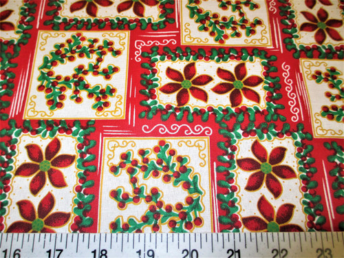 Discount Fabric Quilting Cotton Christmas Poinsettia and Holly Frames T15