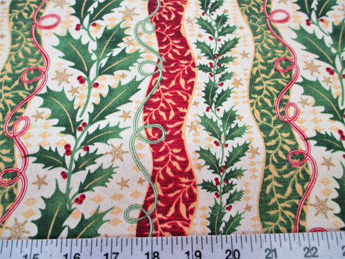 Discount Fabric Cotton Apparel Christmas Holly Red and Green Floral Stripes T18
