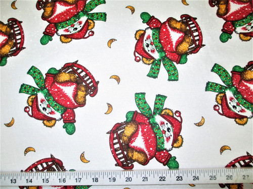 Discount Fabric Cotton Apparel Christmas Sledding Mouse Snowflakes T21