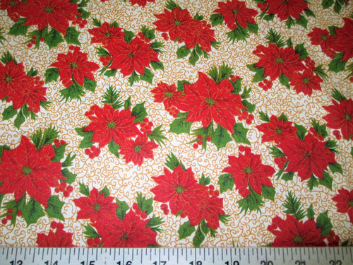 Discount Fabric Cotton Apparel Christmas Poinsettias with Gold Scroll T19