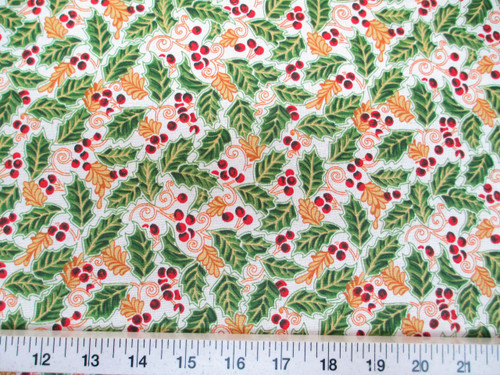 Discount Fabric Cotton Apparel Christmas Holly Red, Green, Gold and White T22
