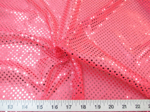 Discount Fabric Stretch Glitter Mesh Sequin Dots Hot Pink Sheer Sparkle L40