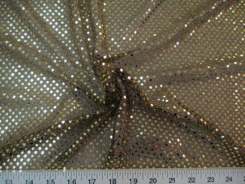 Discount Fabric Stretch Glitter Mesh Sequin Dots Black & Gold Sheer Sparkle L42