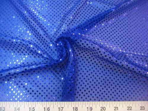 Discount Fabric Stretch Glitter Mesh Sequin Dots Royal Blue Sheer Sparkle L44