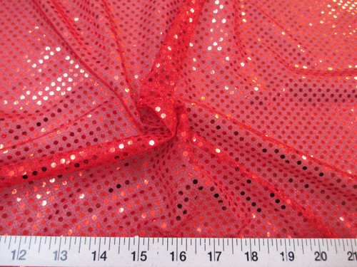 Discount Fabric Stretch Glitter Mesh Sequin Dots Red Sheer Sparkle L47