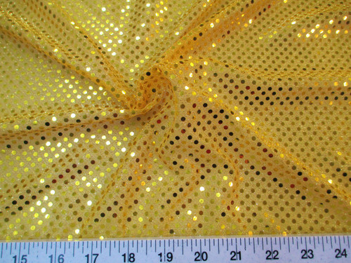 Discount Fabric Stretch Glitter Mesh Sequin Dots Yellow Gold Sheer Sparkle L48