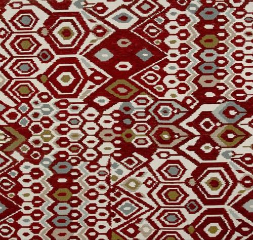 Fabric Richloom Upholstery Drapery Brindi Vintage Red Aztec Chenille EE43