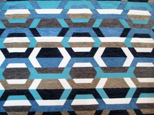 Discount Fabric Richloom Upholstery Drapery Crosby Indigo Yarn Dye Chenille FF41