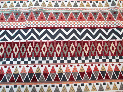 Discount Fabric Richloom Upholstery Drapery Bacuri Spice Tribal Chenille EE42