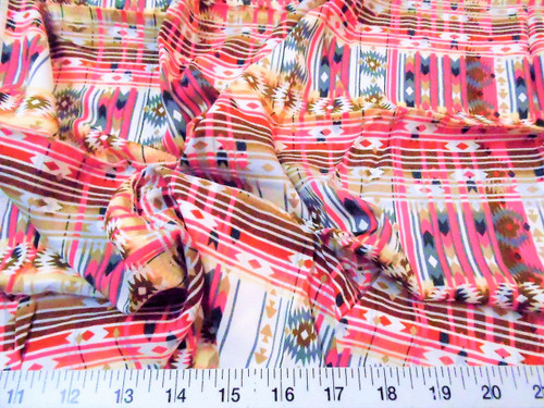 Discount Fabric Challis Rayon Apparel Aztec Pink Brown Gray White F209