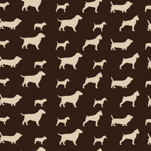 Discount Fabric Premier Prints Best Friend Chocolate Brown and Natural Dogs PR23