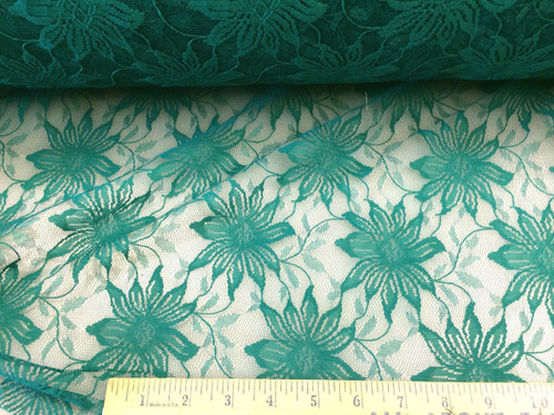 Discount Fabric Stable Mesh Lace Dark Teal Floral LC307