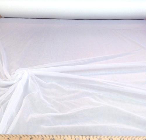 "Discount Fabric 108"" White PowerNet Mesh Spandex sheer PO10"
