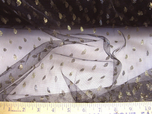 Discount Fabric Black Lace Tulle Metallic Gold Coin Dot LC689