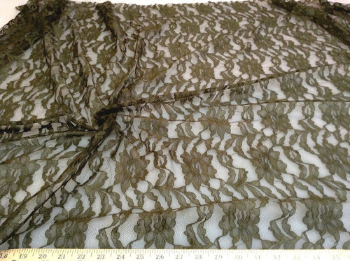 Discount Fabric Organza Mesh Lace Embroidered Green Florl LC119A
