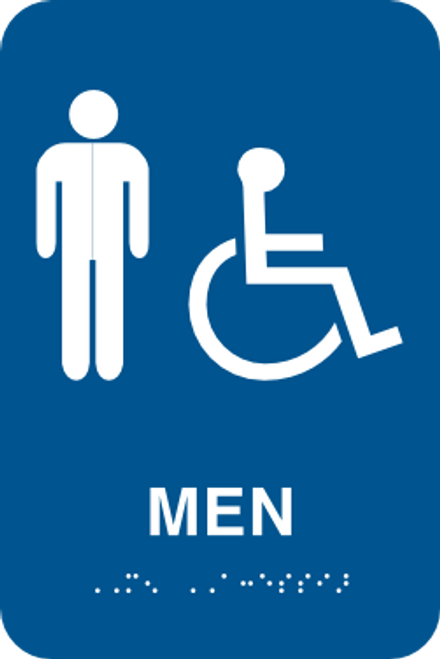 Menu0027s Handicapped Bathroom Sign   ADA Braille
