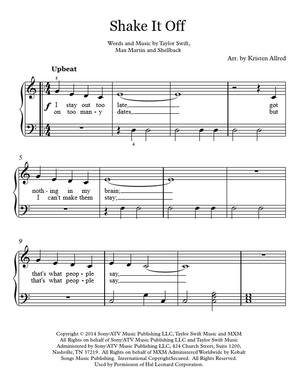 Piano piano sheet music for popular songs : Shake It Off - Taylor Swift - Easy Piano Cover Sheet Music