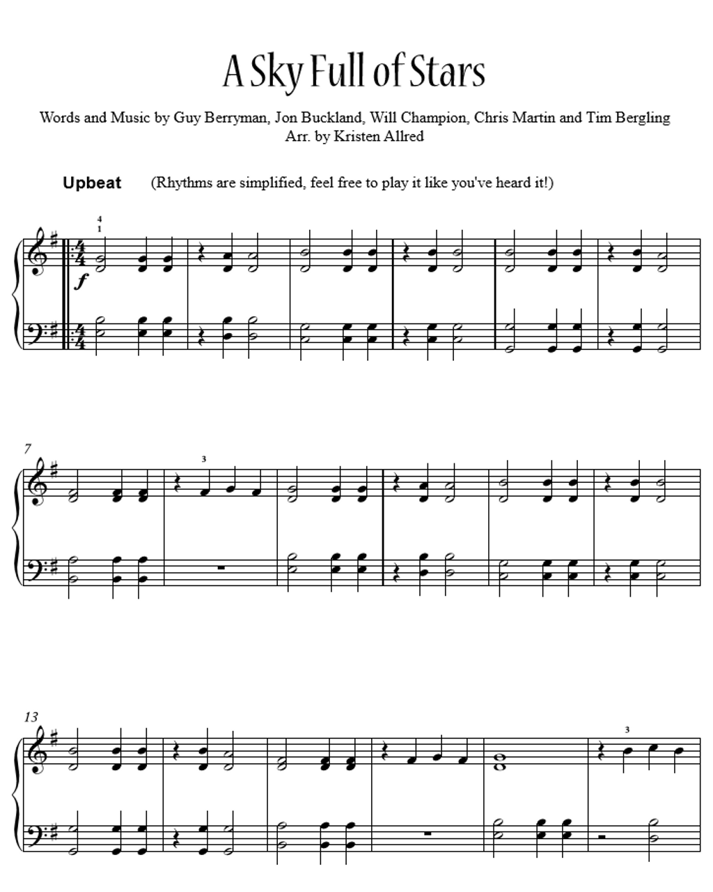 Piano piano sheet music stay rihanna : A Sky Full Of Stars by Coldplay - Easy Piano Sheet Music Download