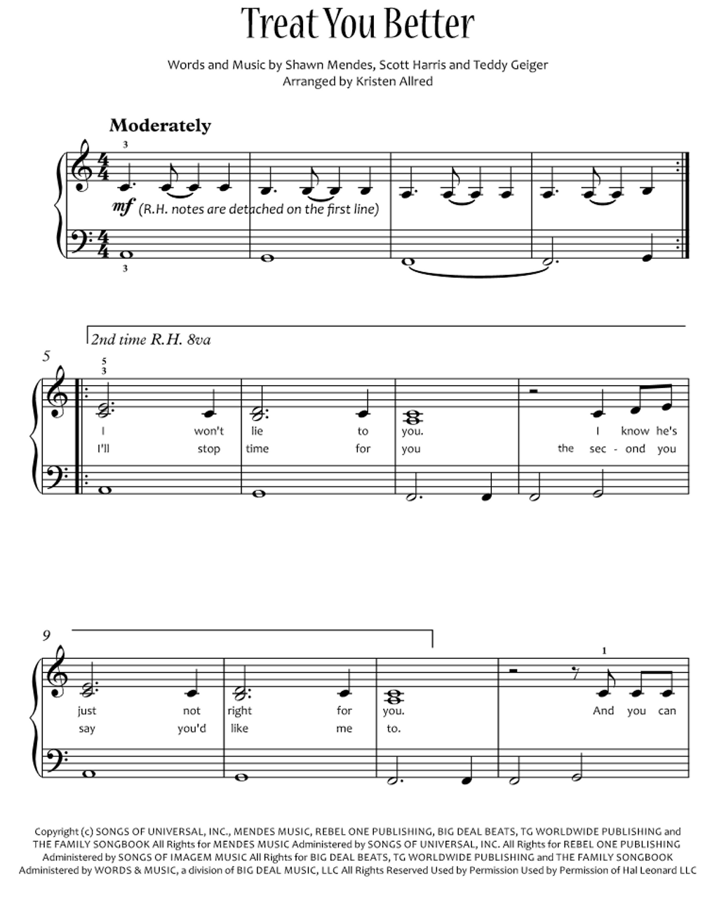 All Music Chords fall for you sheet music : Treat You Better - Shawn Mendes (Easy Piano Cover Sheet Music PDF)