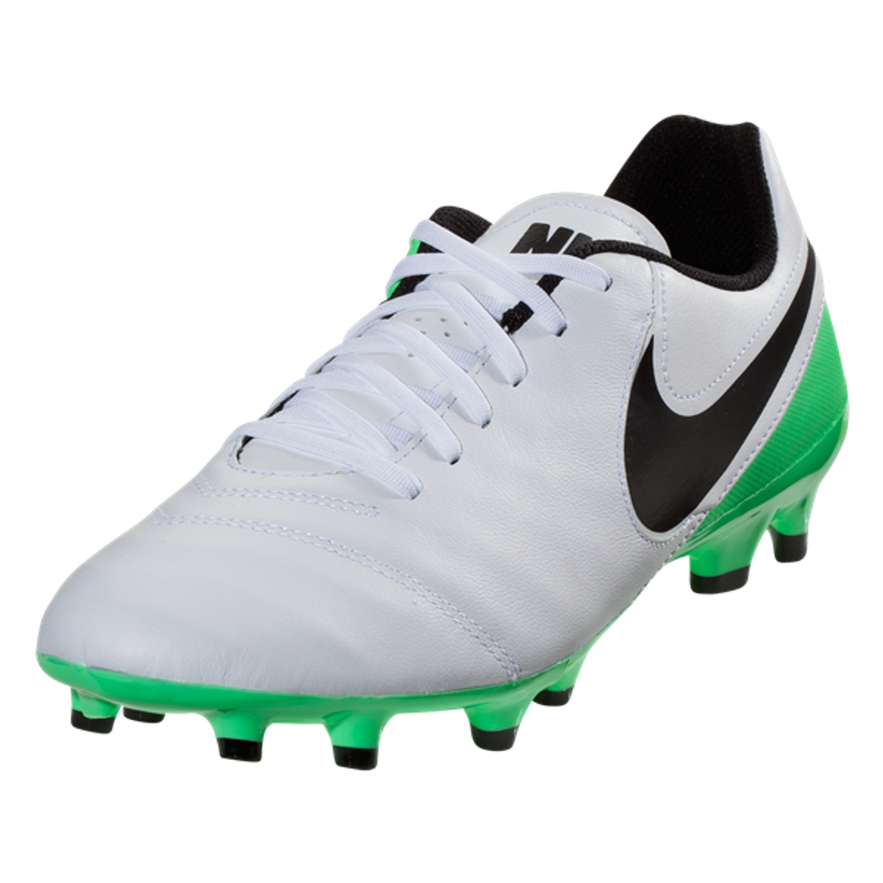 1aa1d6e79e50 Nike Tiempo Genio II Leather FG - White Black Electro Green(41917) - ohp  soccer