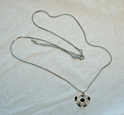 Soccer Ball Heart Bling Necklace - Black/Silver